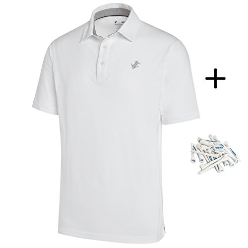 Jolt Gear Golf Shirts for Men - Dry Fit Cotton Polo Shirt - Includes 20 Golfing Tees - Shirt Knit Sport Blended Jersey