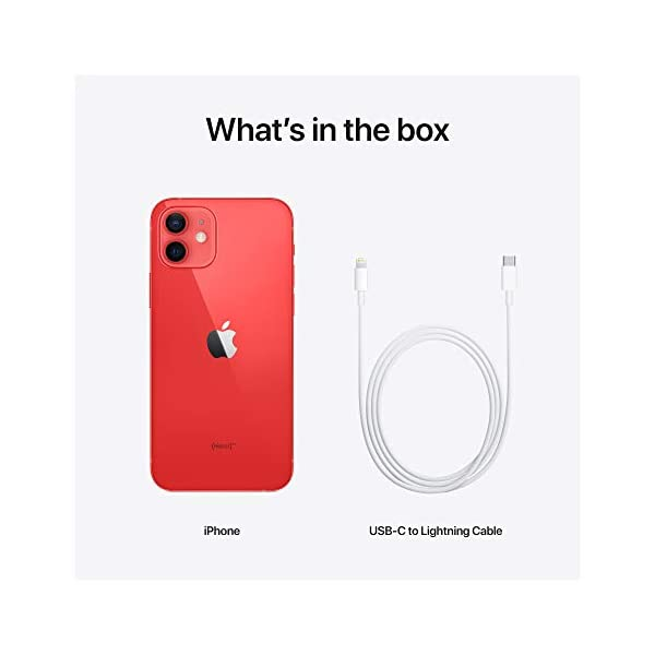 New Apple iPhone 12 (64GB) - (Product) RED 2021 August 6.1-inch (15.5 cm diagonal) Super Retina XDR display Ceramic Shield, tougher than any smartphone glass A14 Bionic chip, the fastest chip ever in a smartphone