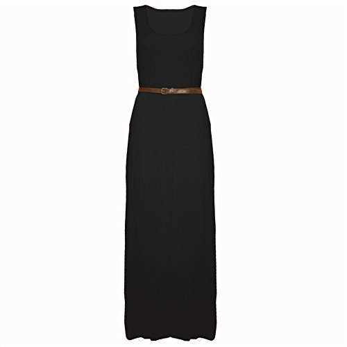 [Oops Outlet Women's Casual Belted Vest Racer Muscle Back Long Maxi Dress Top Plus Size (US 20/22)] (Black Toga Dress)