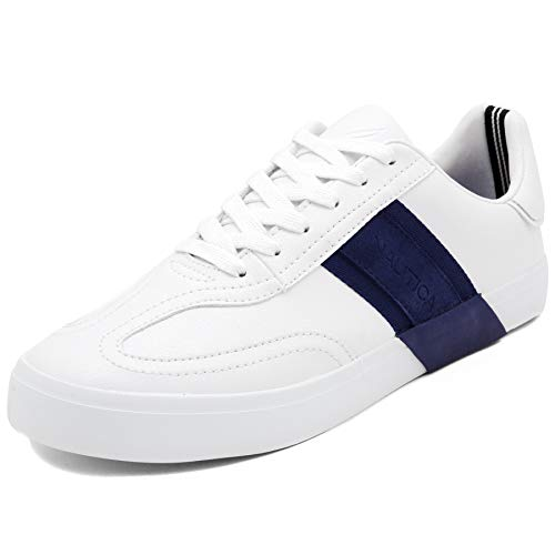Nautica Men's Townsend Casual Lace-Up Shoe,Classic Low Top Loafer, Fashion Sneaker-White/Navy-12]()