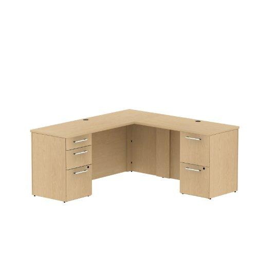 Bush Business Furniture 300 Series 66W x 22D Single Pedestal L-Desk in L-Configuration with 3 Drawer Pedestal - Place Single Pedestal Desk