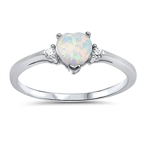 Sac Silver  Sterling Silver White Simulated Opal  Heart Promise Ring, 6