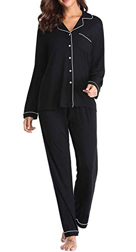 (ANCHOVY Womens Modal Long Button Down Sleepwear Notch Collar Pajama Sets P07 (Black, S))