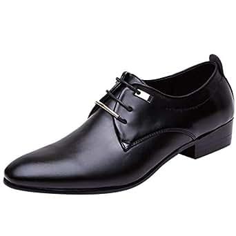 Amazon Com Men Oxford Business Dress Shoes Leather Lace Up Cap Toe