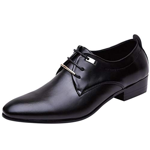 Vintage Men's Fomal Shoes, Fashionable Pointed Toe Closed Toe Patent Leather Lace Up Business Shoes for Wedding Office Black