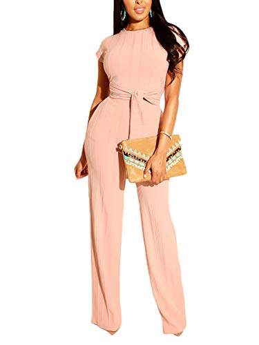 Ophestin Womens Sexy Two Piece Outfits Short Sleeve Rib Belted Crop Top Wide Leg Pants Set Party Jumpsuits Pink XXL