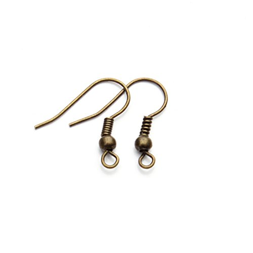 (Linsoir Beads Iron Wire Earring Hooks with Large Loop Packed of 200 Antique Bronze Plated)