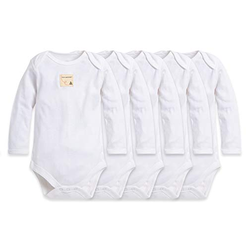 Burt's Bees Baby - Set of 5 Bee Essentials Solid Long Sleeve Bodysuits, 100% Organic Cotton, Cloud (0-3 Months)