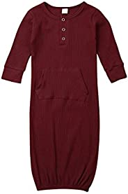 Unisex Sleeper Gown One Size Newborn Baby Girl Cotton Solid Color Nightgowns Sleeping Bag 0-6 Months