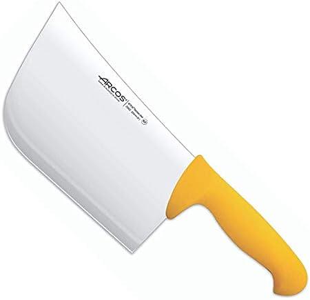 Arcos Serie 2900, Cuchillo Hachuela, Hoja de Acero Inoxidable Nitrum de 220 mm, Mango inyectado en Polipropileno Color Amarillo