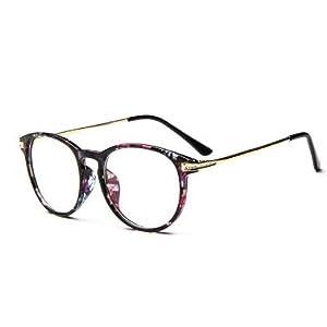 Black Flower Colors Fashion Oversized Clear Lens Round Circle Eye Glasses Womens Oversized Frame