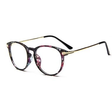 Black Flower Colors Fashion Oversized Clear Lens Round Circle Eye Glasses Womens Oversized Frame