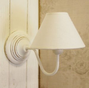 Lamp Shades For Wall Lamps : French Country Shabby Chic White Wooden Wall Light With Cotton Lamp Shade: Amazon.co.uk: Lighting