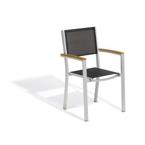 (Oxford Garden Travira TVCHSB2 Sling Armchair - Black Sling - Teak Armcaps - Set of 2)