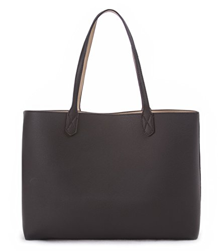 Overbrooke Reversible Tote Bag, Black & Sand - Premium Vegan Leather Womens Shoulder Tote ()