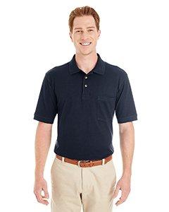 Ringspun Pique Shirt (Harriton Mens Ringspun Cotton Piqué Short-Sleeve Pocket Polo (M200P) -NAVY -XL)