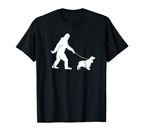 Bigfoot Sasquatch Walking Cocker Spaniel Dog Lovers Gift T-s