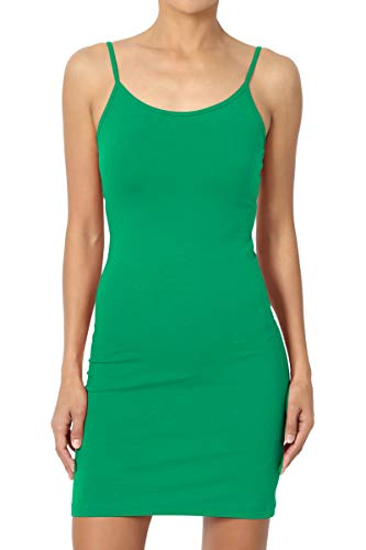 TheMogan Women's Basic Cotton Span Longline Cami Slip Bodycon Mini Dress Kelly Green M (Kelly Mini)