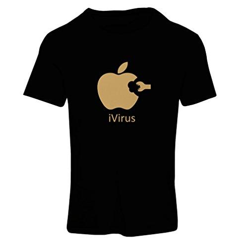 Camiseta mujer iVirus - Regalo divertido del amante de la nueva tecnología Negro Oro