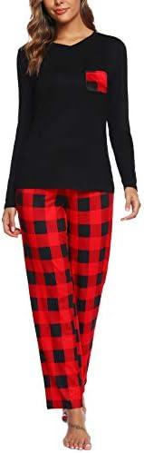 ARANEE Women's Pajamas Set Long Sleeve Sleepwear Classic Plaid Soft Pj Sets Loungewear