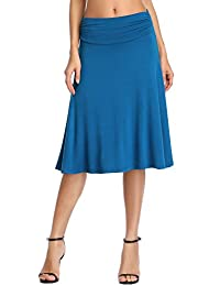 Urban CoCo Women's Ruched Waist Stretchy Flared Yoga Skirt