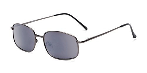 Readers.com Sun Reader: The Randy Reading Sunglasses Metal Rectangle Style for Men - Matte Grey with Smoke, 2.25 (Sun-glasses.com)