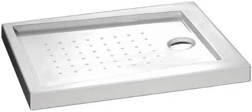 Plato ducha acr/ílico antideslizante liso modelo Nublo Bricodomo 70x160 Blanco con v/álvula incluida