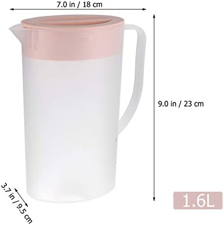 Hemoton Plastikkrug 1. 6L Plastikgetränkekessel Großraumkrug Klare Mischung Getränke Safttopf Eistee Kessel mit Deckel (Blau)