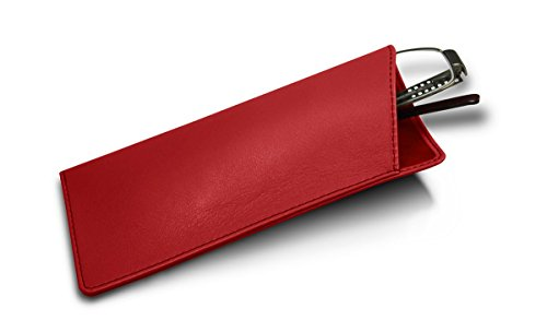 Lucrin - Genuine Leather Thin Eyeglass Case and Holder - Red - Smooth - Online Eyeglasses Luxury