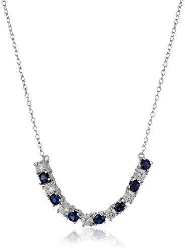 Sterling Silver Created Blue and White Sapphire Curved Bar Necklace, 18'' by Amazon Collection