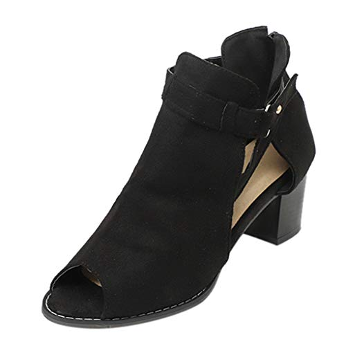 Tantisy ♣↭♣ Fashion Women's Sandals Fish Mouth Hollow Out Roma Shoes/Square Heel Daily Casual Boots Black