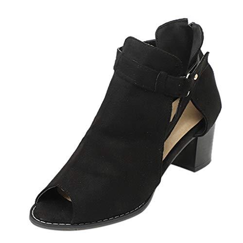 Out Peep Toe Boots Sandals Ladies Ankle Strap Square Heels Zip Sandals Roman Shoes Black ()