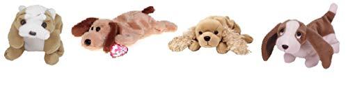 Ty Beanie Baby Pups - Spunky -Tracker - Bones - Wrinkles ( Bundle of 4 )