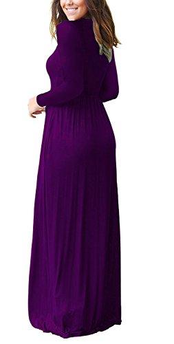 AUSELILY Women Long Sleeve Loose Plain Plus Size Maxi Dresses Casual Long Dresses with Pockets