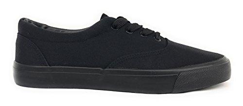 Dream Seek Big Kids/Womens/Mens Unisex 717 Canvas Lace Up Fashion Sneaker Shoes Black (Big Kid/Men) exEvG9