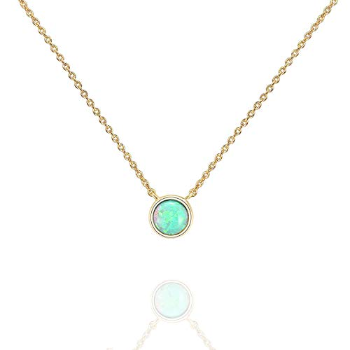 PAVOI 14K Yellow Gold Plated Round Created Green Opal Necklace | Opal Necklaces for Women ()