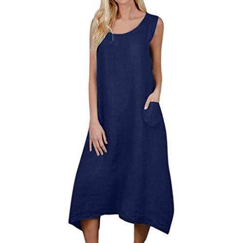 BODOAO Women Sleeveless Long Dress Casual Dress Crew Neck Linen Dress with Pocket Navy ()