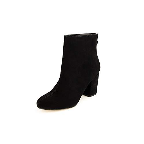 Black US6.5-7   EU37   UK4.5-5   CN37 Black US6.5-7   EU37   UK4.5-5   CN37 Women's Bootie Suede Fall & Winter Boots Chunky Heel Booties Ankle Boots Black