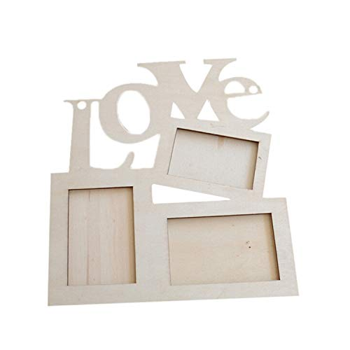 VEF3RYT 2019 Nice Hollow Love Heart Shaped Wooden Photo Frame Picture Holder White Base Art DIY Home Decor