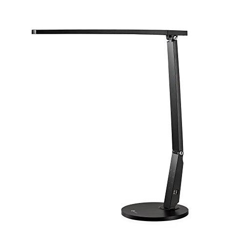 Schreibtischlampe Led TaoTronics 15W Schreibtischleuchte led Tageslichtlampe Augenschutz 4 Helligkeitsstufen Lampenarm einstellbar mit USB-Anschluss zum Aufladen von Smartphones und Tablets, Schwarz