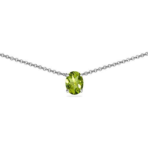 Sterling Silver Peridot 7x5mm Oval-cut Dainty Choker Necklace