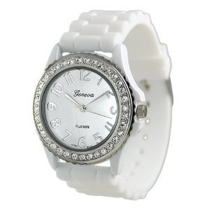 Geneva Platinum Womens Watch - Platinum CZ Accented Silicon Link Watch Quartz Wristwatch Watches, Large Face