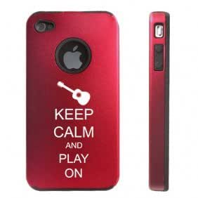 Apple iPhone 4 4S 4 Red D3960 Aluminum & Silicone Case Cover Keep Calm and Play On Guitar