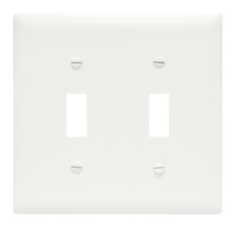 (Legrand - Pass & Seymour TP2W TradeMaster Two-Gang Two-Toggle Wall Plate, White)