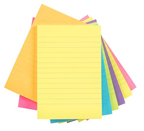 Sticky Notes - 8 Pads Lined Self-Stick Notes, 4 x 6 Inches, 50 Sheets per Pad, 6 Assorted Bright Neon Colors, Memo Notes for Students, Home, Office, Portrait Layout, Total 400 Sheets ()