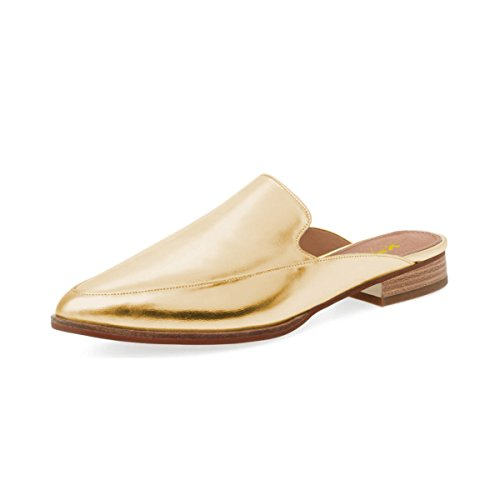 XYD Chic Pointed Toe Mule Flats Easy Walking Low Heel Slide Loafer Shoes for Women Gold