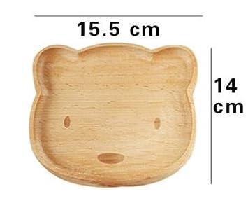 1 pcs Cute Cat Bear Face placa de madera para servir bandeja cena plato niños patrón