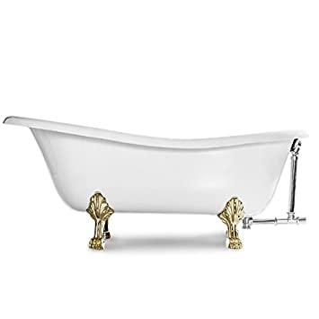 MAYKKE Audrey 67 Inches Traditional Oval Clawfoot Tub, White Cast Iron  Slipper Bathtub With Feet