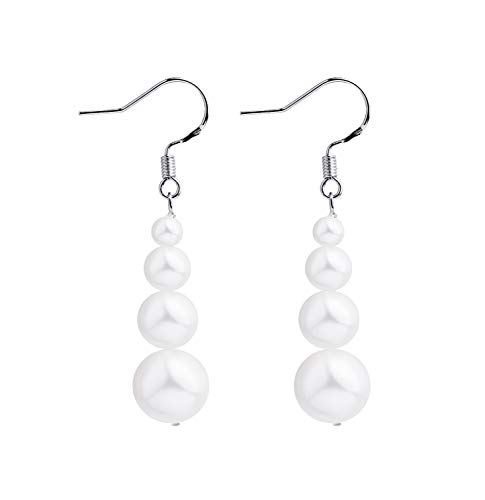 Rakumi Fashionable Women Dangle Earrings 6-9mm White Seashell Pearl Drop Earrings with Sterling Silver Hooks