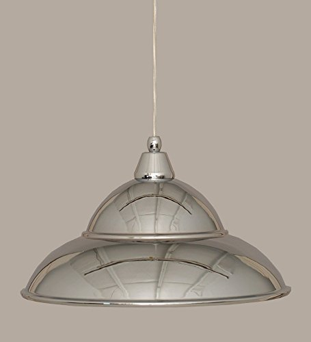 Toltec Lighting 22-CH-429 One Light Cord Mini-Pendant, Chrome Finish with Chrome Cone Metal Shade
